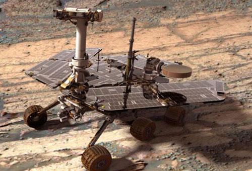 Marsrover Opportunity mit Marsdial. Haben Sie die Sonnenuhr gefunden?