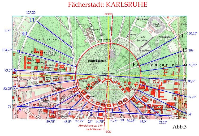 Abb. 3 Stadplan Karlsruhe als Sonnenuhr